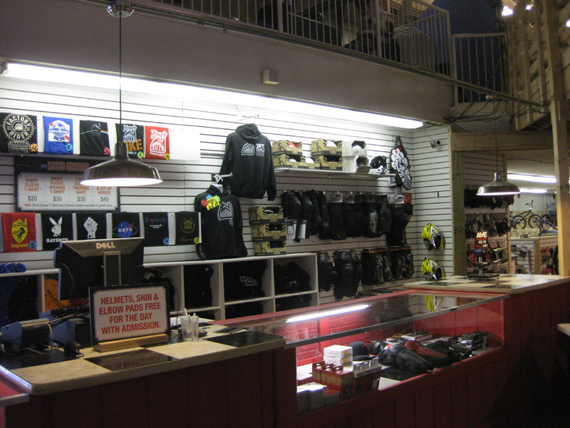 Ray's MTB Park gift shop, spare parts, GoPro rentals