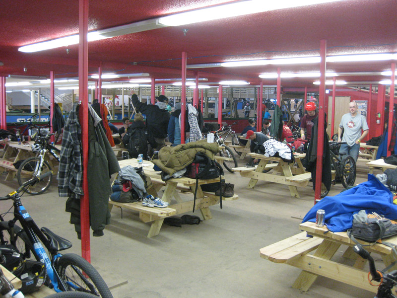 Ray's MTB Park downstairs lounge/staging area