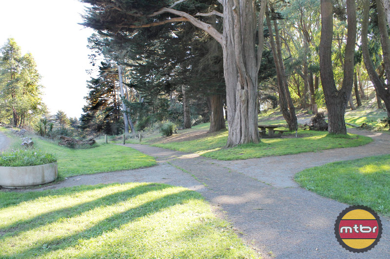 Picnic area in Mclaren Park, a possible place to set up a bike trail loop
