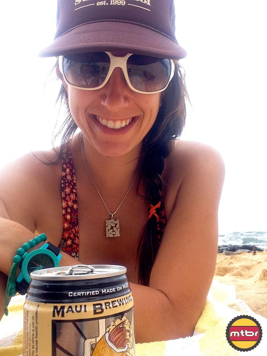 Enjoying a Maui Brewing Coconut Porter on the Beach