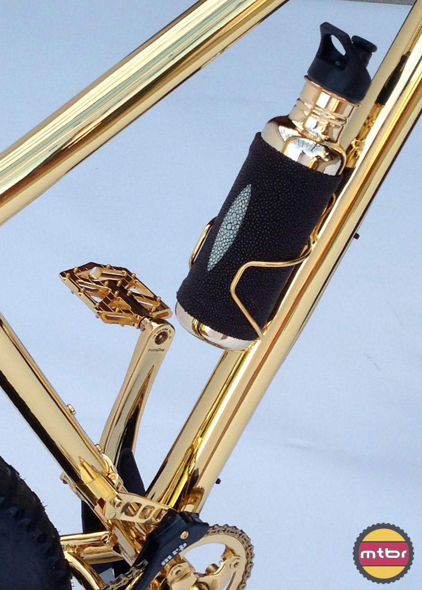 24k Gold Bike Bottle and Cage