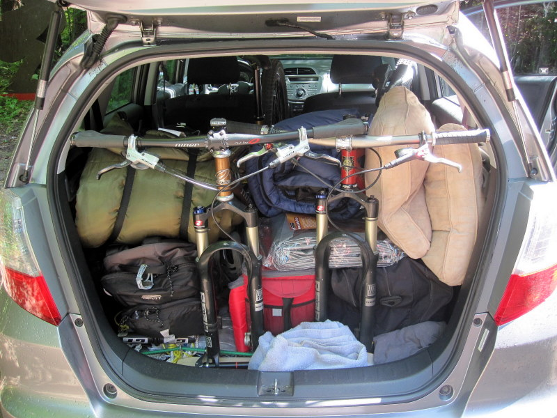 Making a rack and fitting 2 bikes into a Honda Fit ...