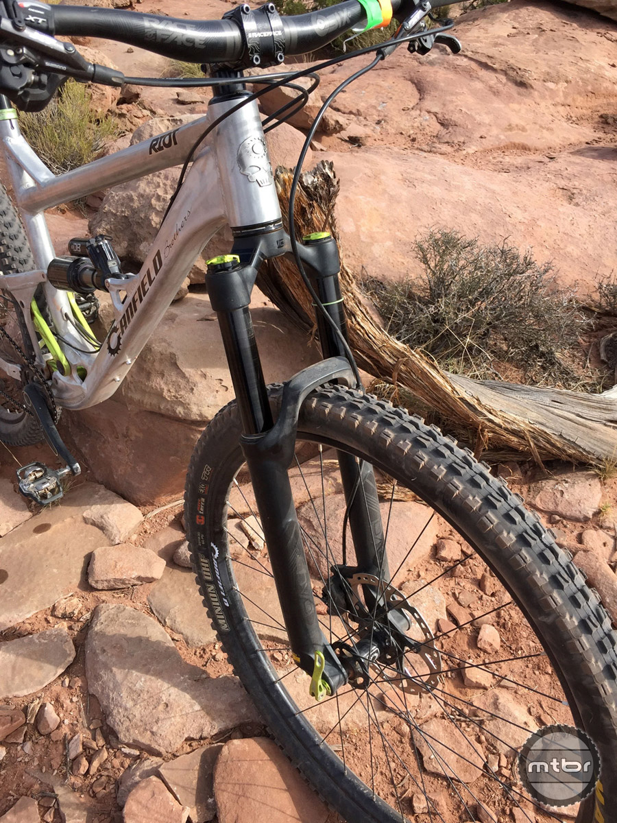 The DVO Diamond fork was just okay during this test. We'd love to try the bike with a Fox 36 or RockShox Pike.