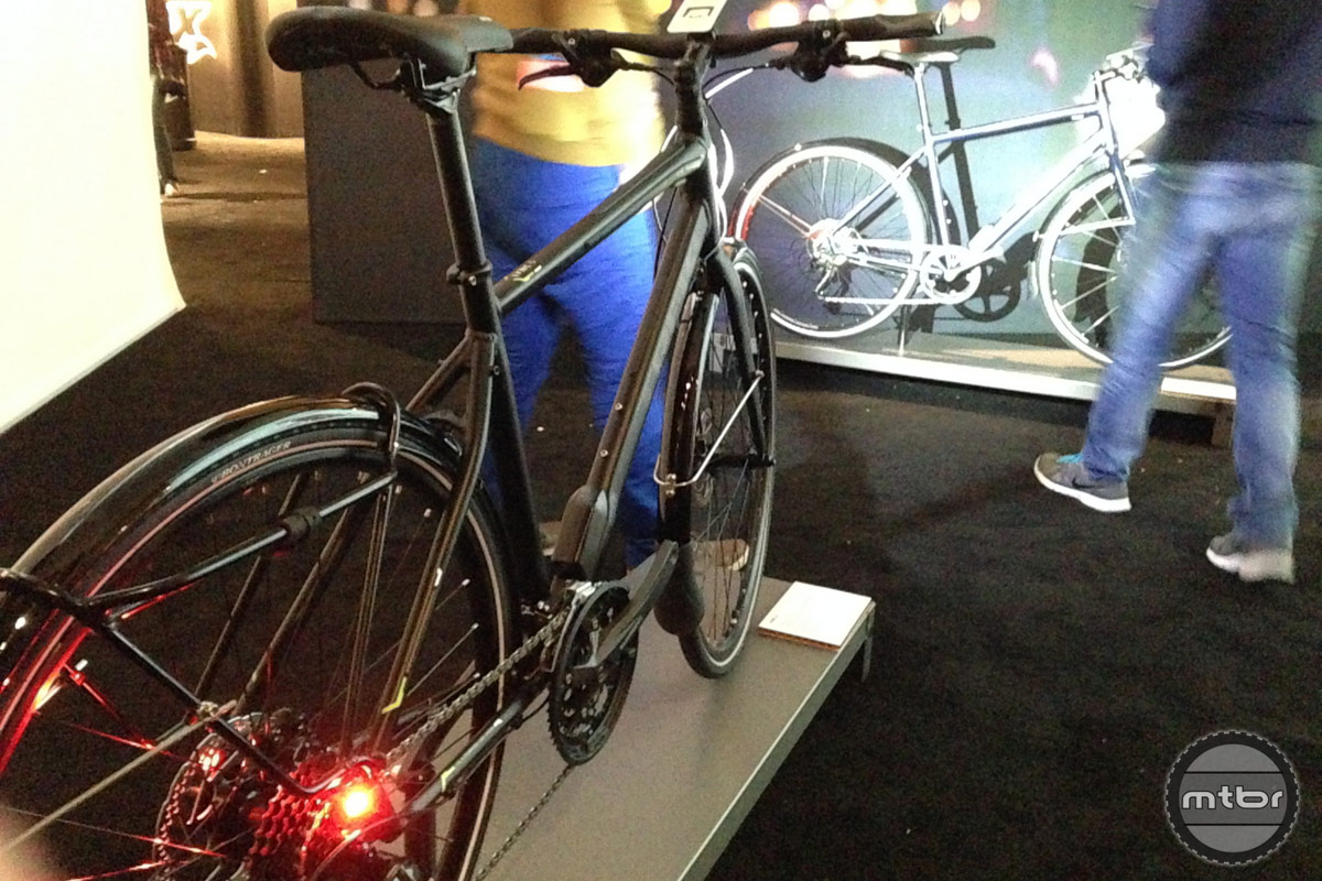 This Trek commuter bike sports integrated head lights and tail lights.