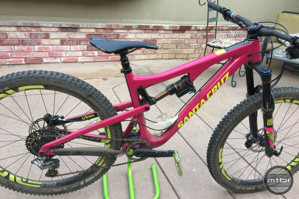 The Santa Cruz Nomad with long top tube is a good testbed.