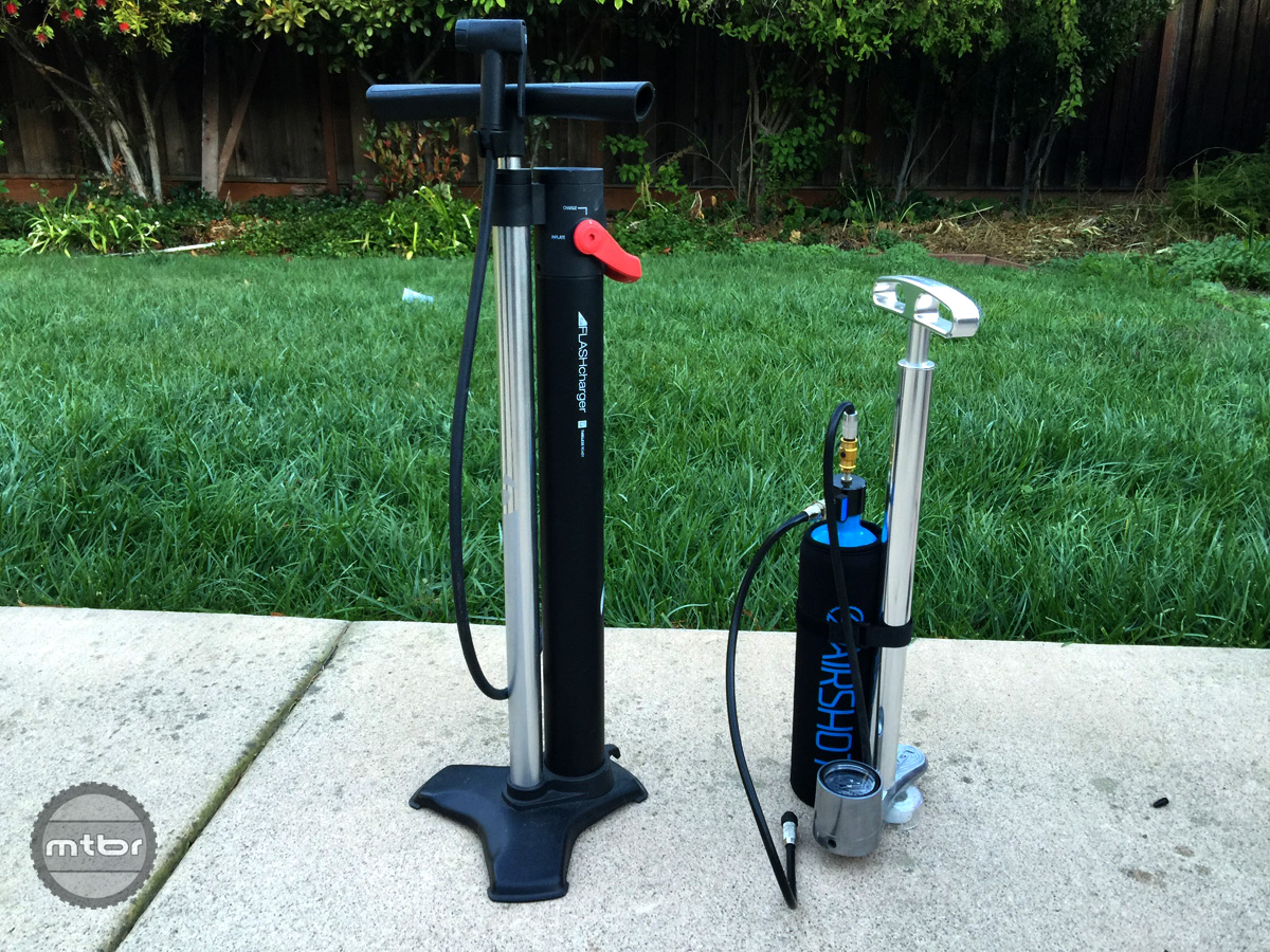 We were able to create our own Compressor floor pump with the Airshot by attaching it to a floor pump and routing the hose through it. Upside is the tank can be bypassed when compressed air is not needed to avoid having to charge the tank constantly.