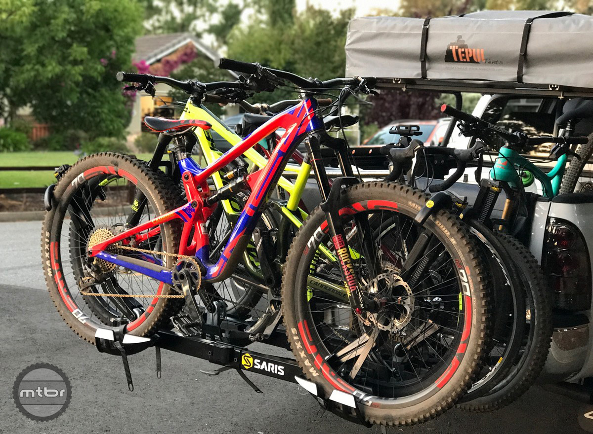Bikes are packed in tight but are secure
