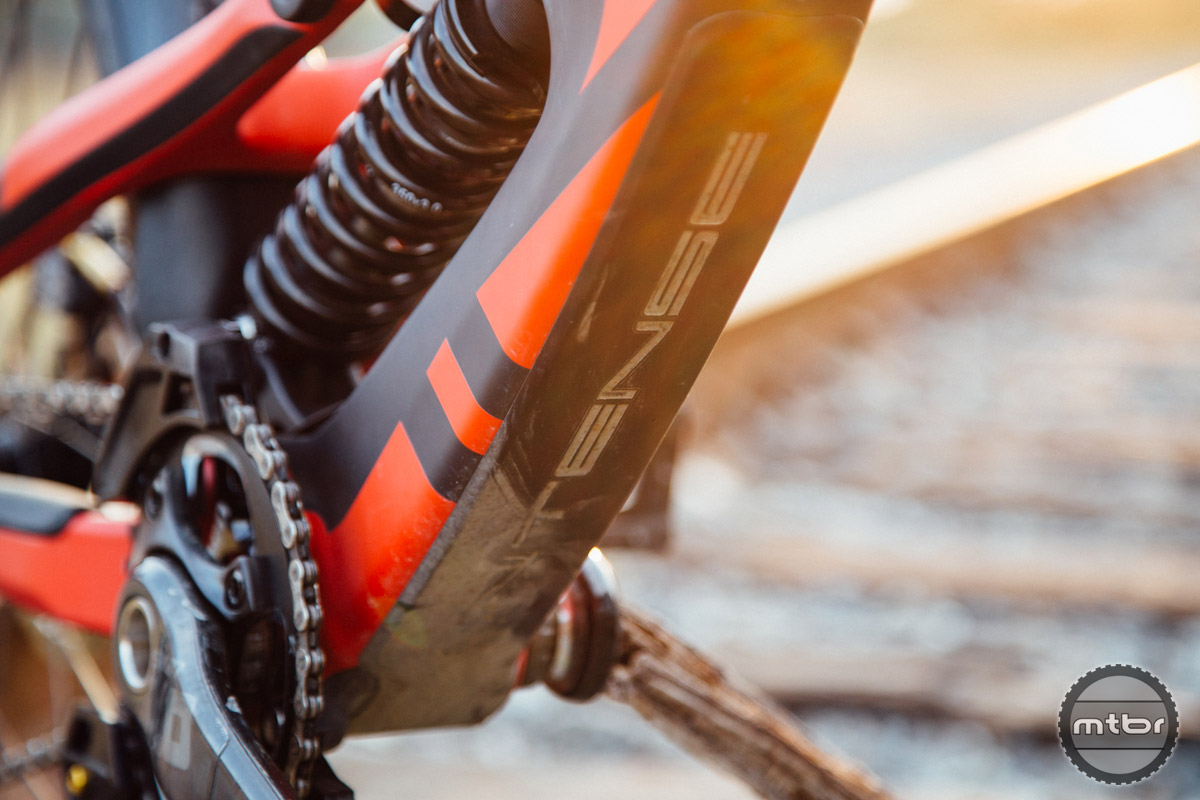 The frame itself is well protected via integrated fork bumpers, molded downtube protectors, and guards along the drive side chainstay.