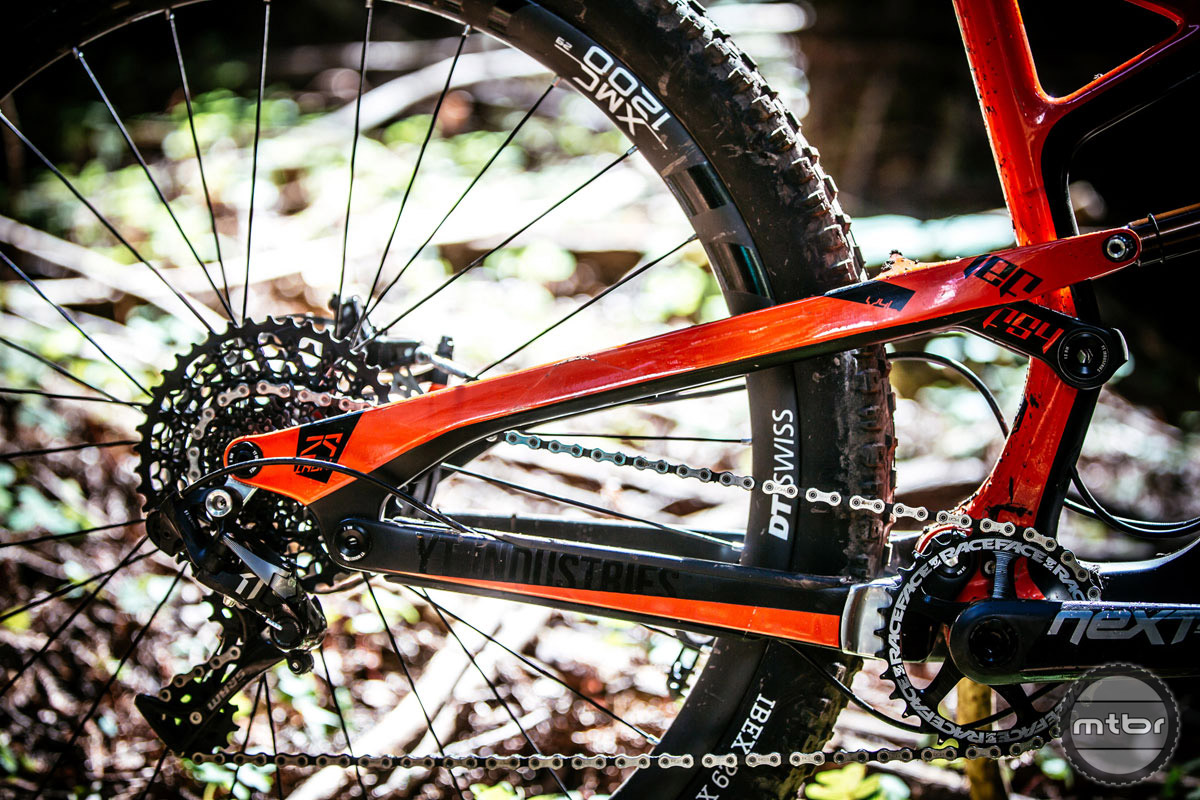SRAM and Race Face drivetrain. Molded chain stay protectors. Photo by Ale Di Lullo