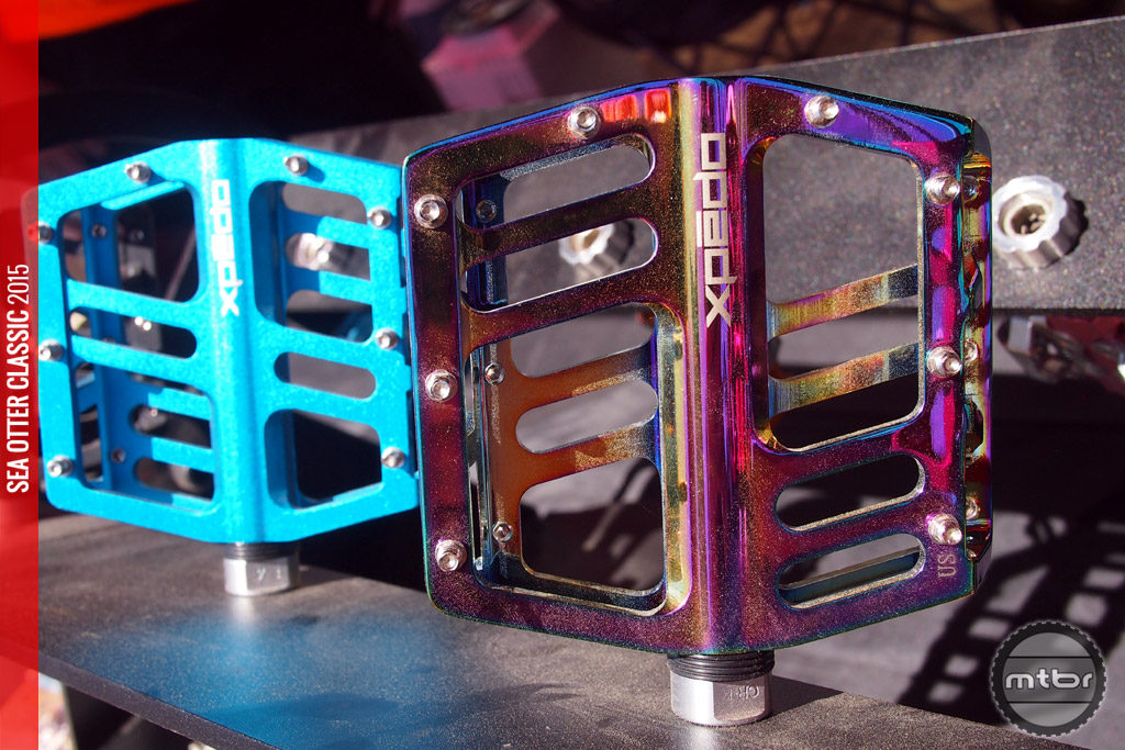 """Jek alloy flat pedal with cool """"Oil Slick"""" finish."""