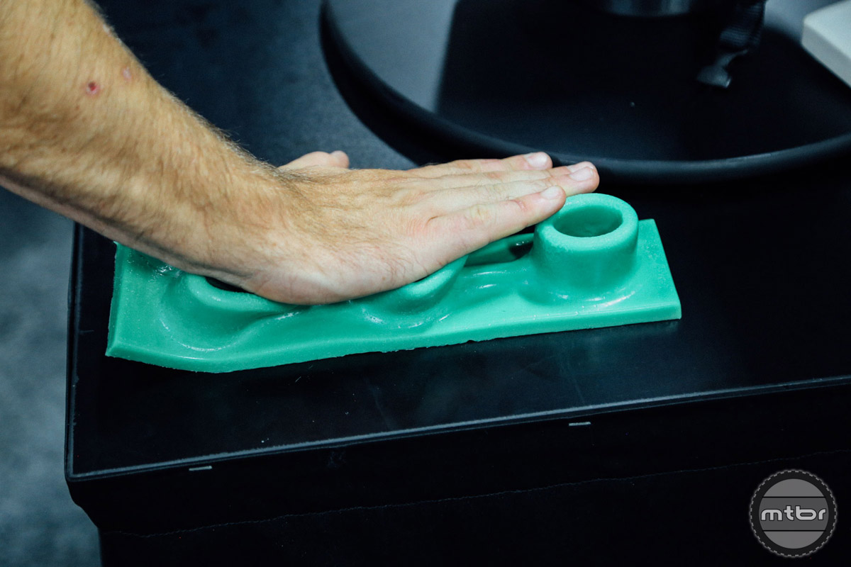 The LDL system resembles a Lego brick, but the rubbery material is soft to the touch and flexes under pressure.