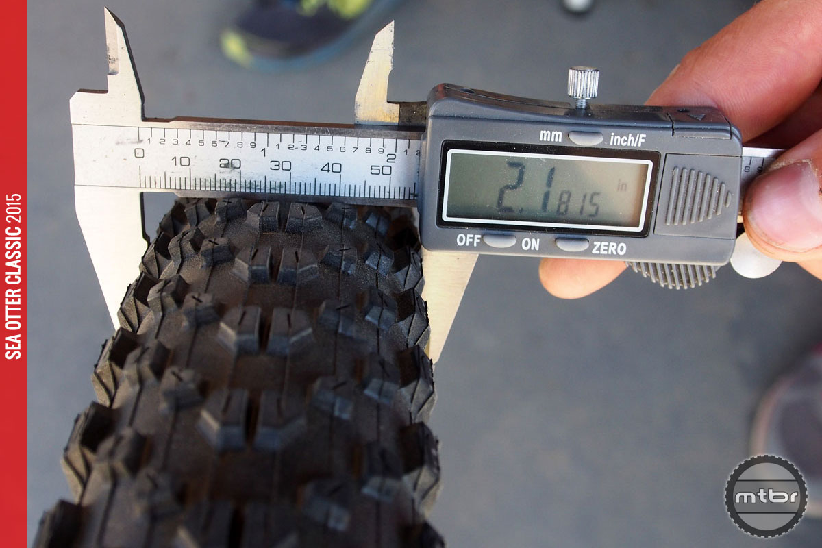 On an ENVE XC rim, 2.35 became 2.18 at 15psi.