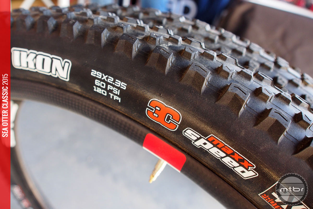 These Maxxis Ikon tires say 2.35, but rim width can change that number drastically.