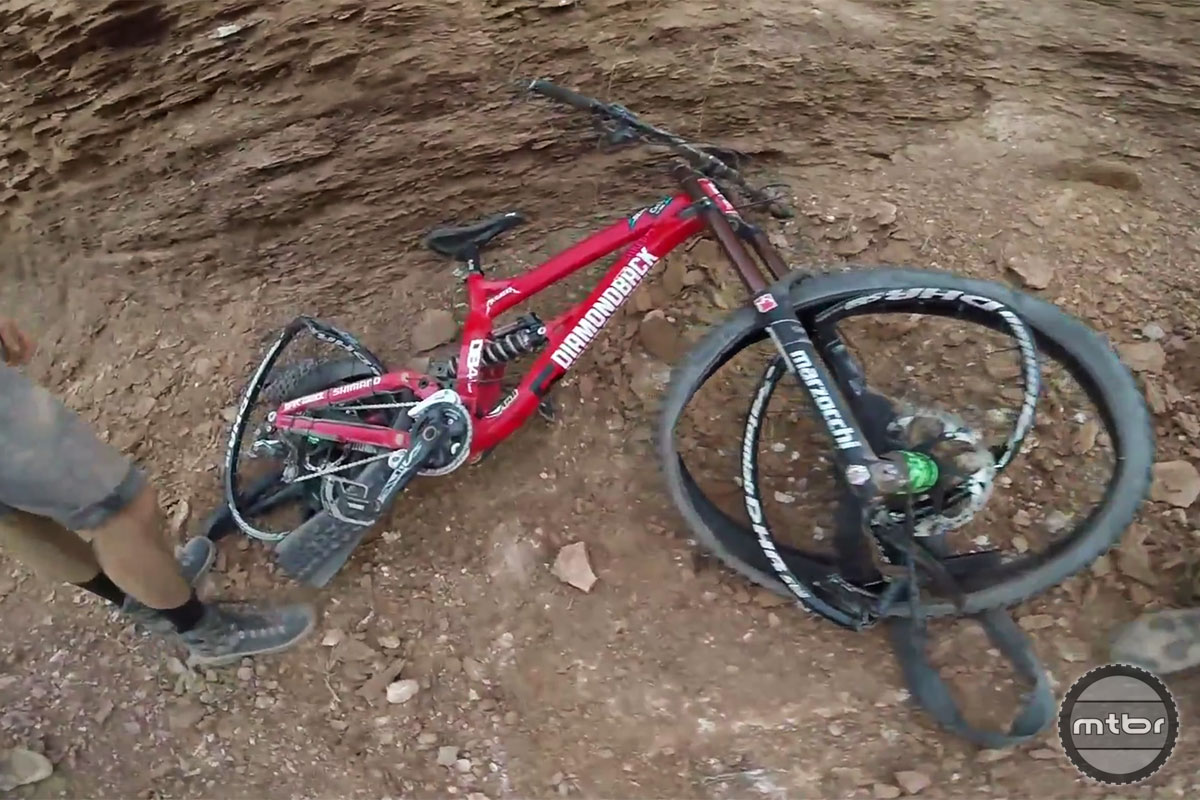 Kelly McGarry Rampage Broken Bike