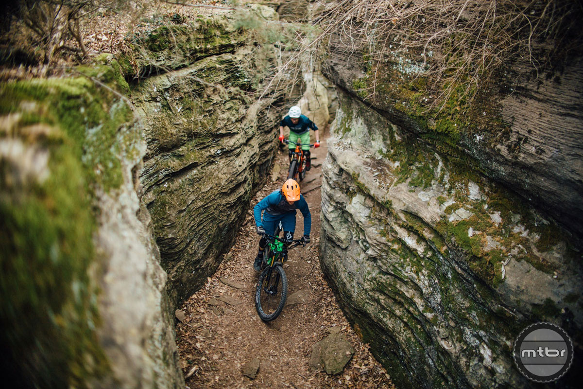 Fayetteville's first mountain bike trail and you can see why as this isn't for the faint of heart. Technical rocky singletrack and hand-cut lines separate the pros from the joes.