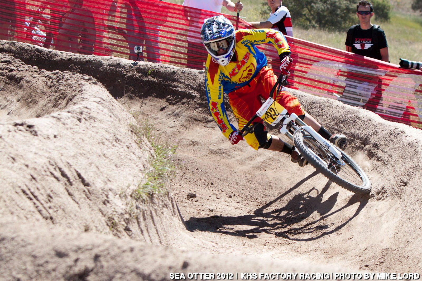 Binggeli pushes the KHS 650B through the berms.