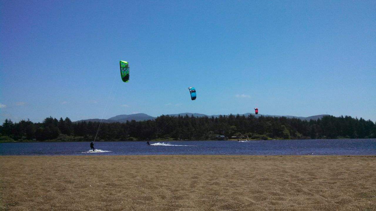 Floras Lake is a terrific location for kiteboarding and windsurfing.