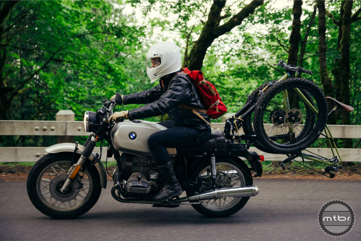 The best way to get your bike to the trail (if it's too far to ride)? By motorcycle of course.