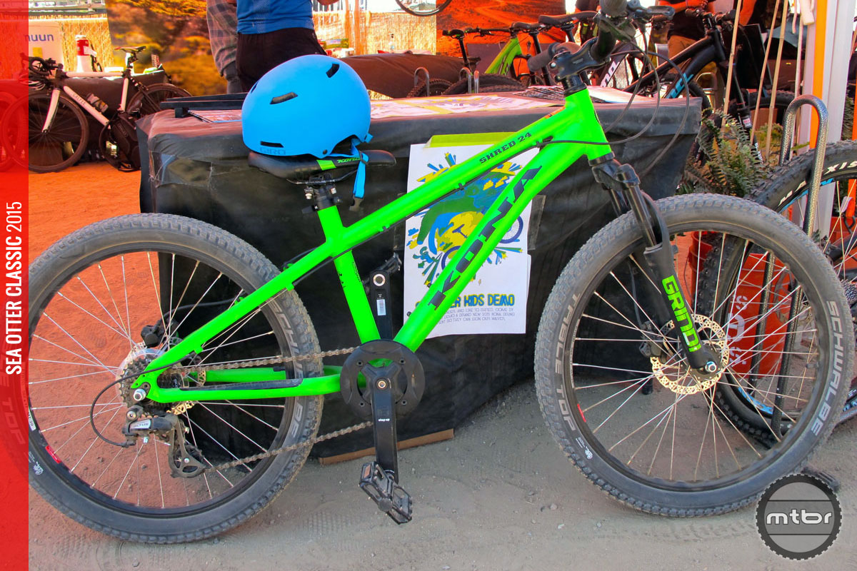 The Kona Shred 24 was a popular choice at the pump track, with helmets for test rides provided by Giro.