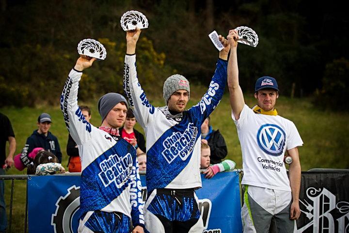 Team CRC/Nukeproof Podium (l-r)Joe Smith, Matti Lehikoinen, Dan Wolfe