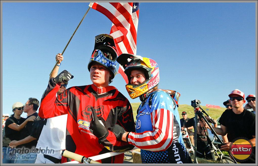 2012 Sea Otter Dual Slalom Winners, Kyle Strait & Jill Kintner