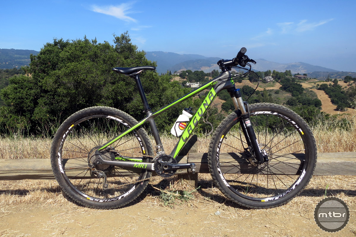 "The Laguna MR1 is a carbon monocoque hardtail rolling on 27.5"" Mavic Crossride wheels with a RockShox XC 32 fork and a Shimano Deore/XT 2x10 drivetrain."