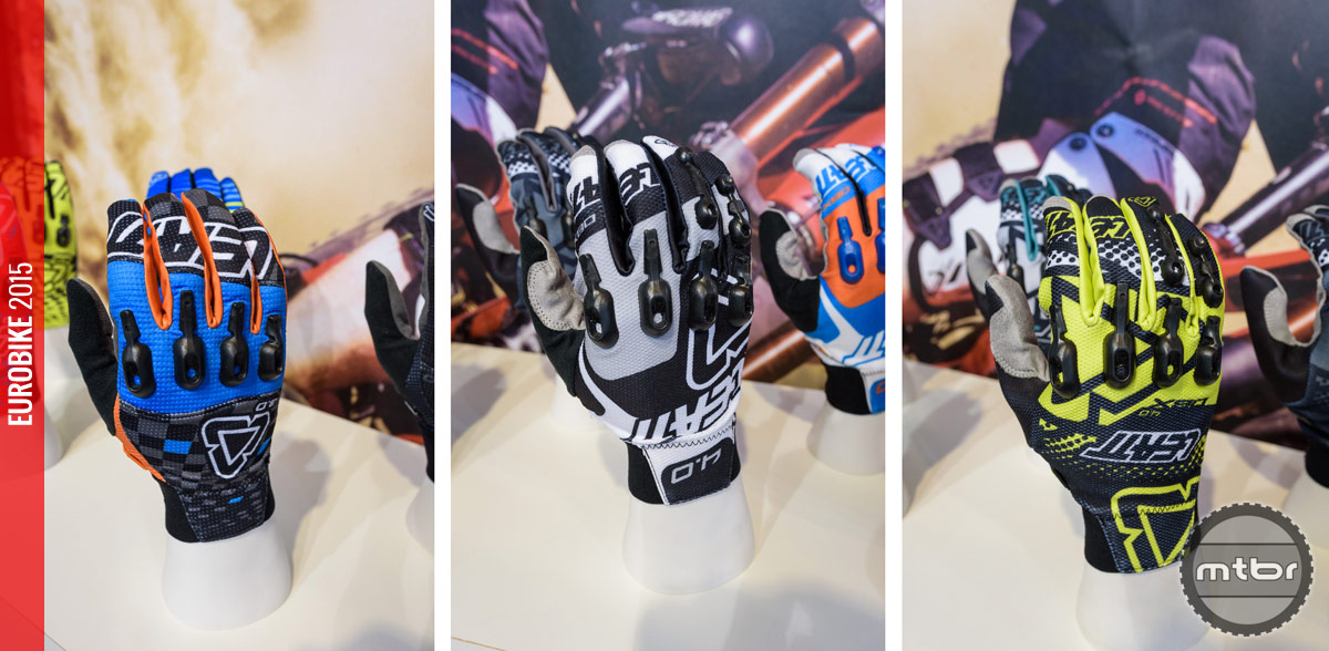 Leatt 3.0 X-Flow glove (left), 4.0 Lite glove (middle) and 4.0 Windblock glove (right).