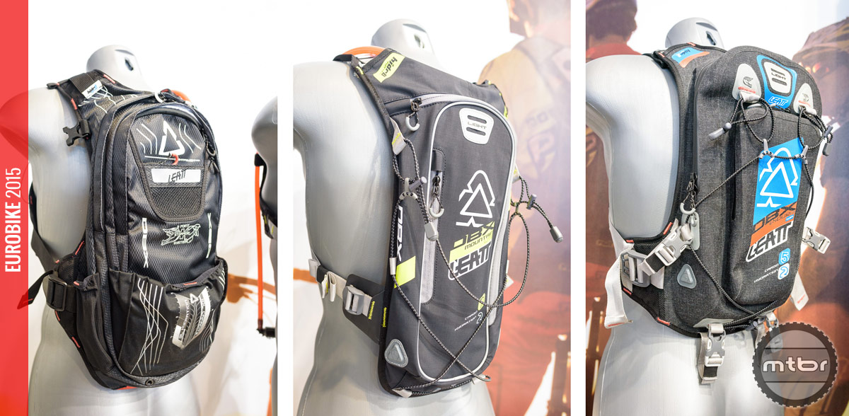 Leatt 3.0 Cargo (left), 2.0 Enduro Lite WP (middle) and 2.0 Mountain Lite (right) hydration packs with built in protection.