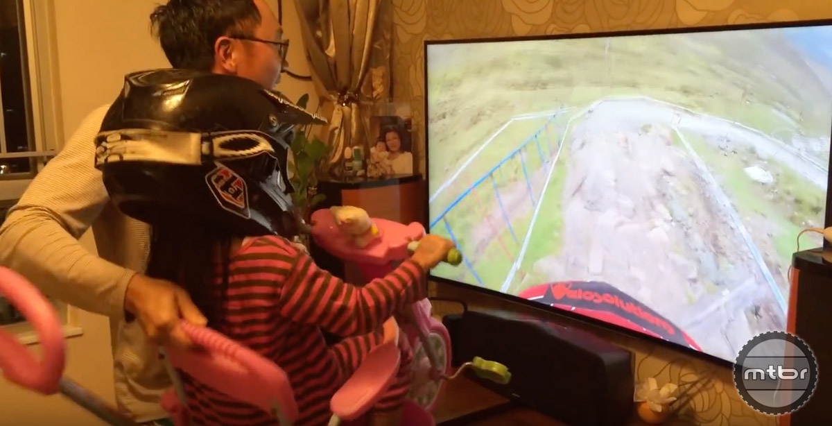 Dad gets points for dressing his daughter up in sweet protective gear.