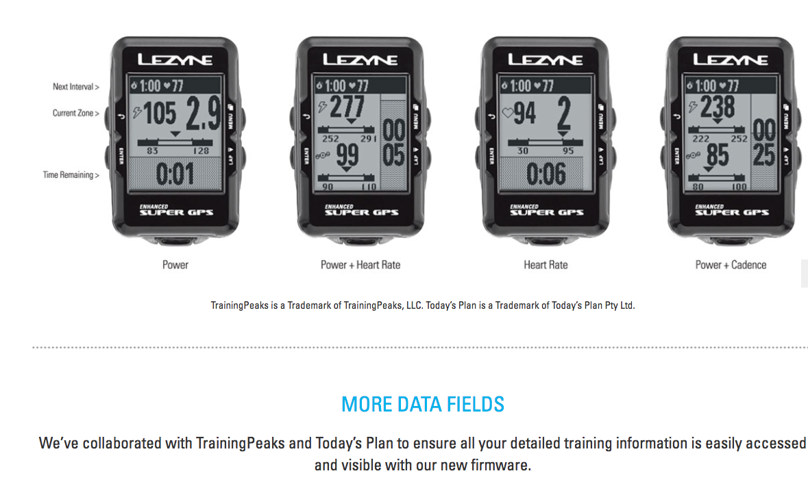 Lezyne Enhanced Super GPS fields