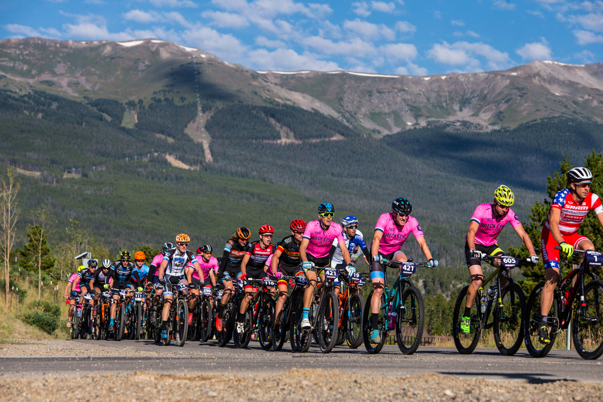 The roll-out on the road was quick and the first climb broke up the race quickly. The Colorado Trail stage of the Breck Epic is a big one in terms of both mileage and pue Colorado mountain biking. Photo by Liam Doran Photography
