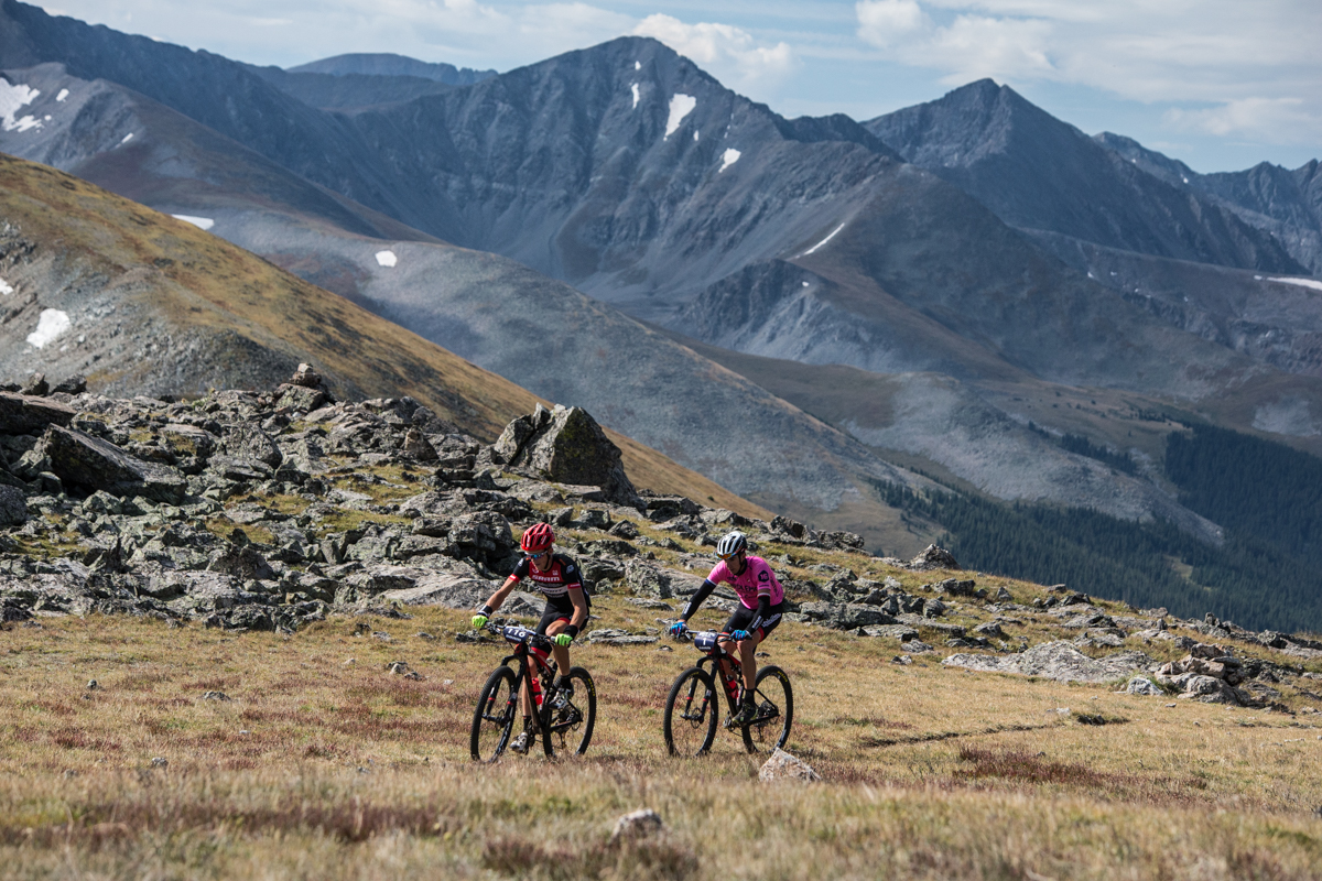 Russell Finsterwald and Todd Wells cut to the chase on Breck Epic's iconic climb, Wheeler Pass, distancing themselves from the group quickly and staying away. Photo by Liam Doran Photography