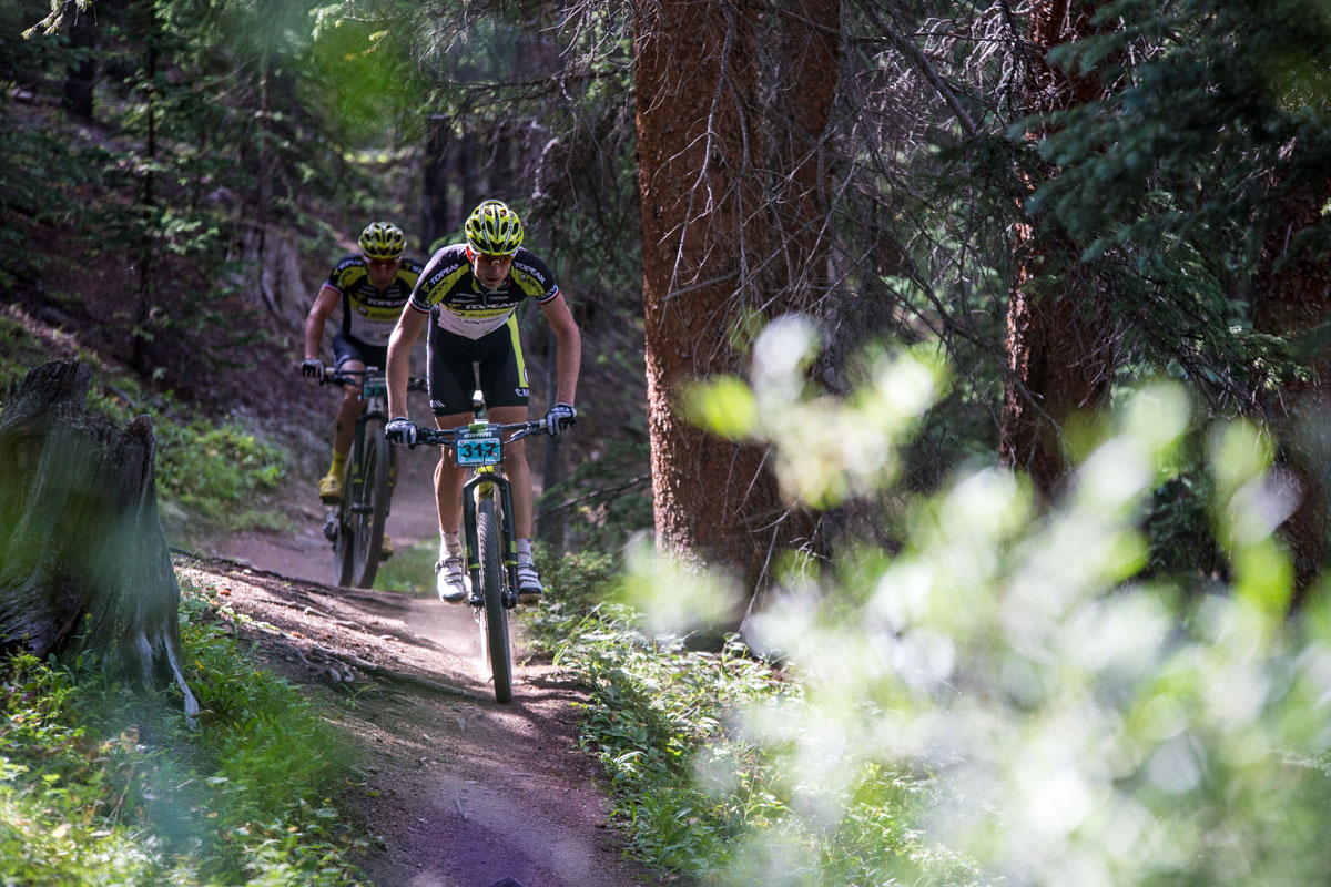Kristian Hynek of Team Topeak Ergon leads the charge on Stage 2, The Colorado Trail. Photo courtesy Breck Epic/Liam Doran