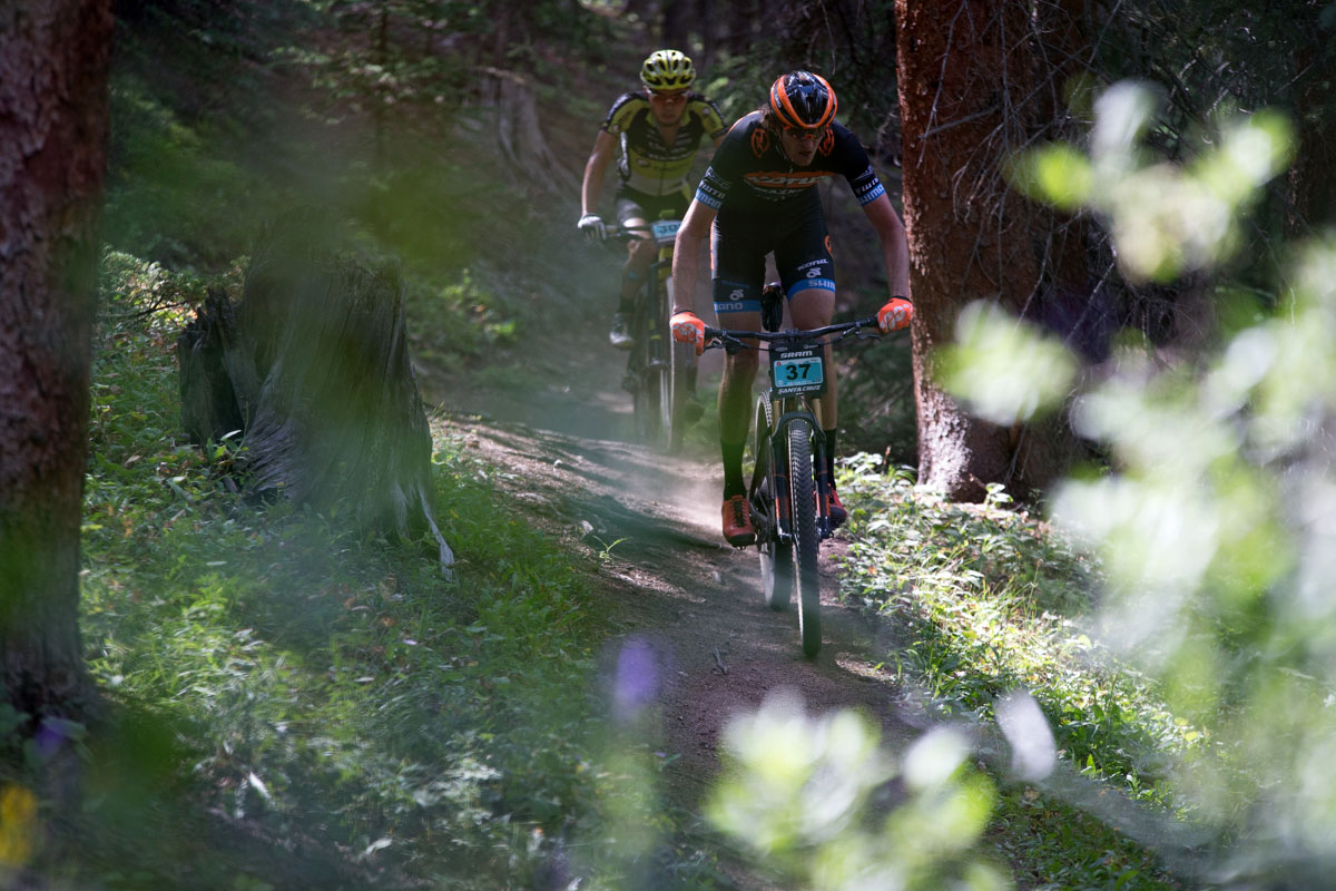 Barry Wicks and Yuki Ikea ride wheel to wheel through the Colorado Trail. Photo courtesy Breck Epic/Liam Doran