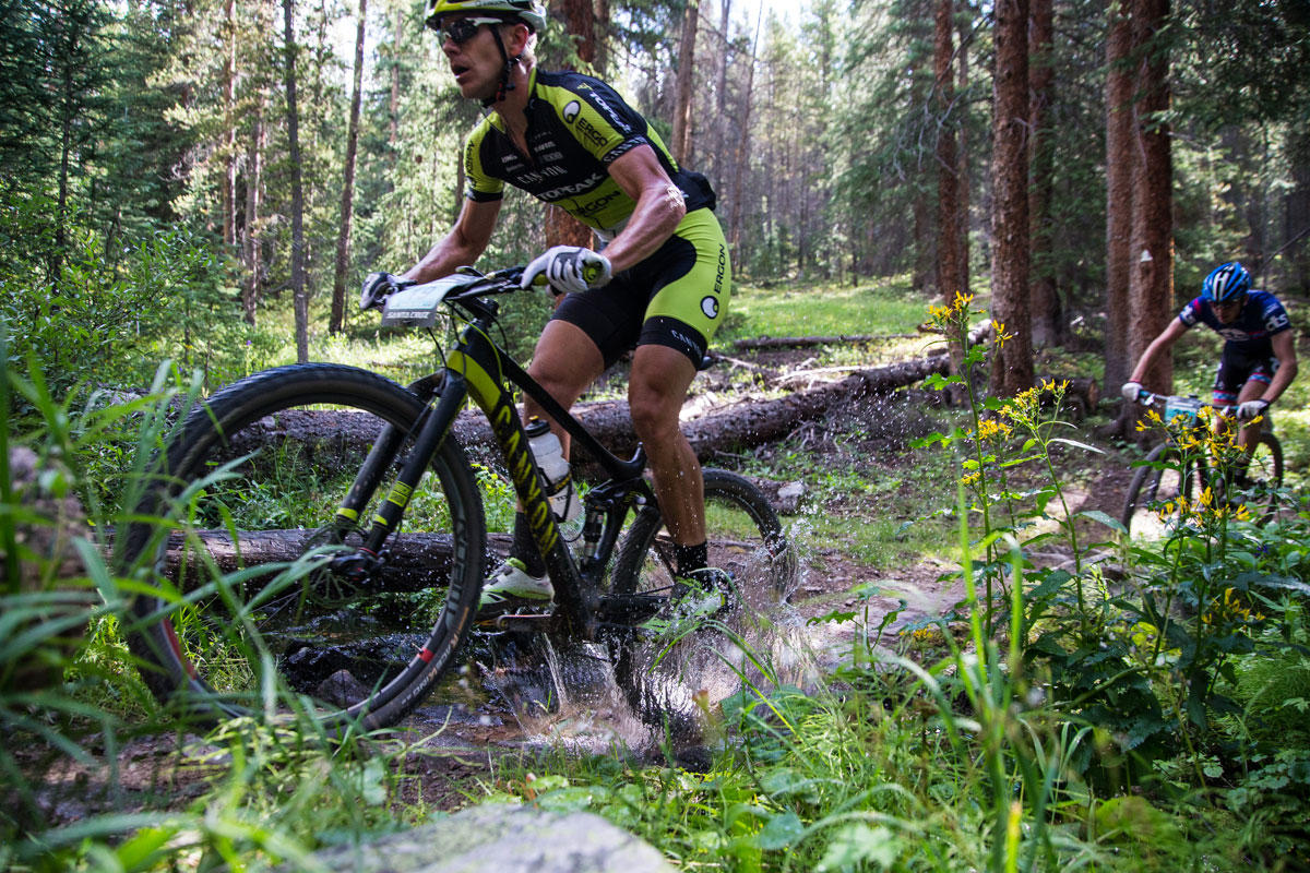 Jeff Kerkove of Team Topeak Ergon splashes through a portion of the Colorado Trail. Photo courtesy Breck Epic/Liam Doran