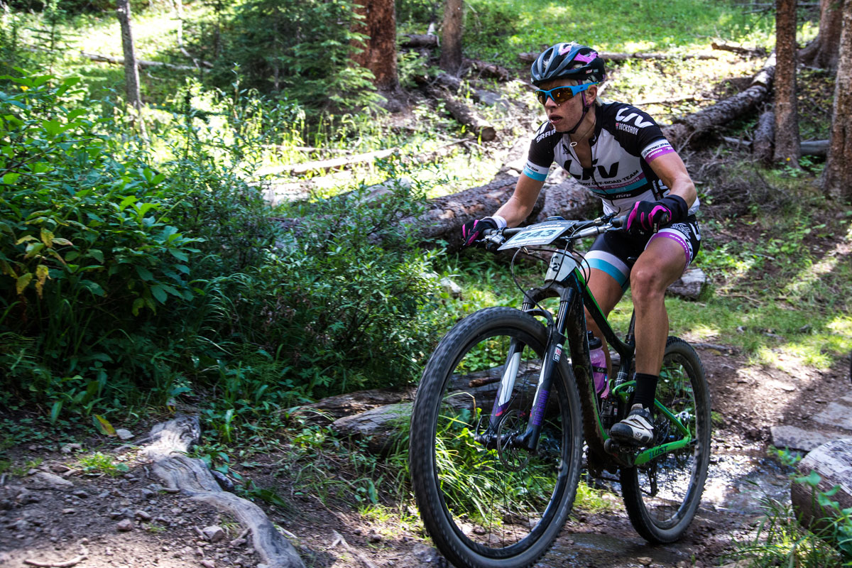 Serena Gordon carried on through a rough stage suffering a couple flat tires and finishes 4th. Photo courtesy Breck Epic/Liam Doran