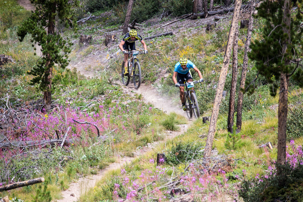 Alban Lakata and Jeremiah Bishop wind through a ribbon of the Colorado Trail. Photo courtesy Breck Epic/Liam Doran