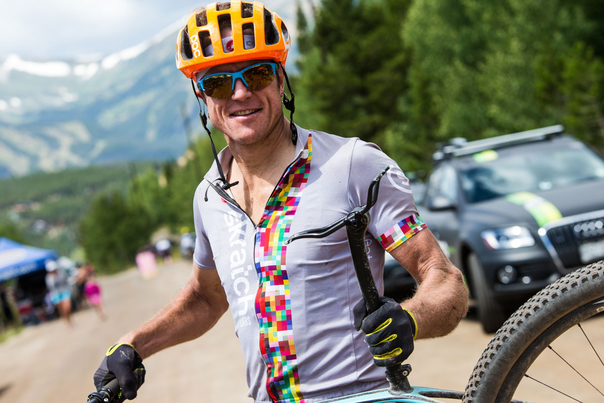 Vince Anderson, racing in the men's single speed category came across the line in second - due to a mechanical, he rode the majority of the day without a saddle. Photo courtesy Breck Epic/Liam Doran