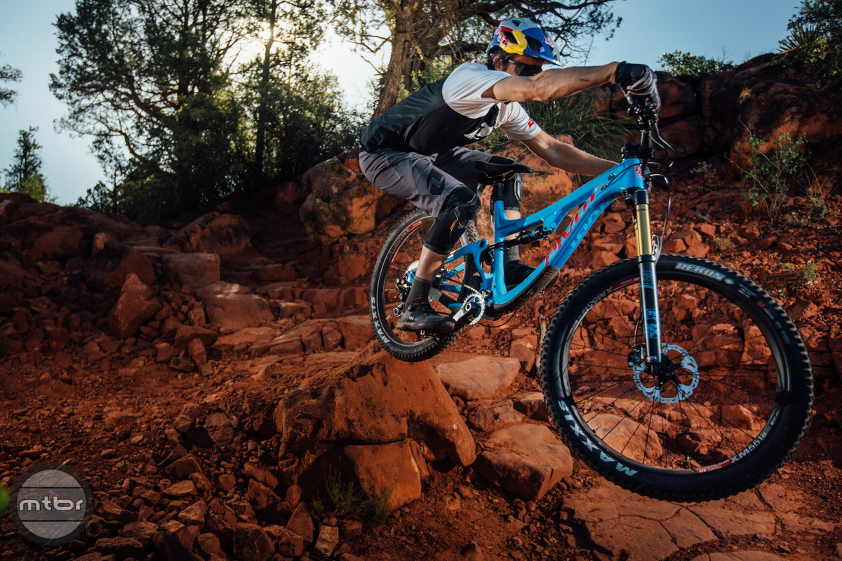 There's never a dull moment  when going full tilt in Sedona terrain.