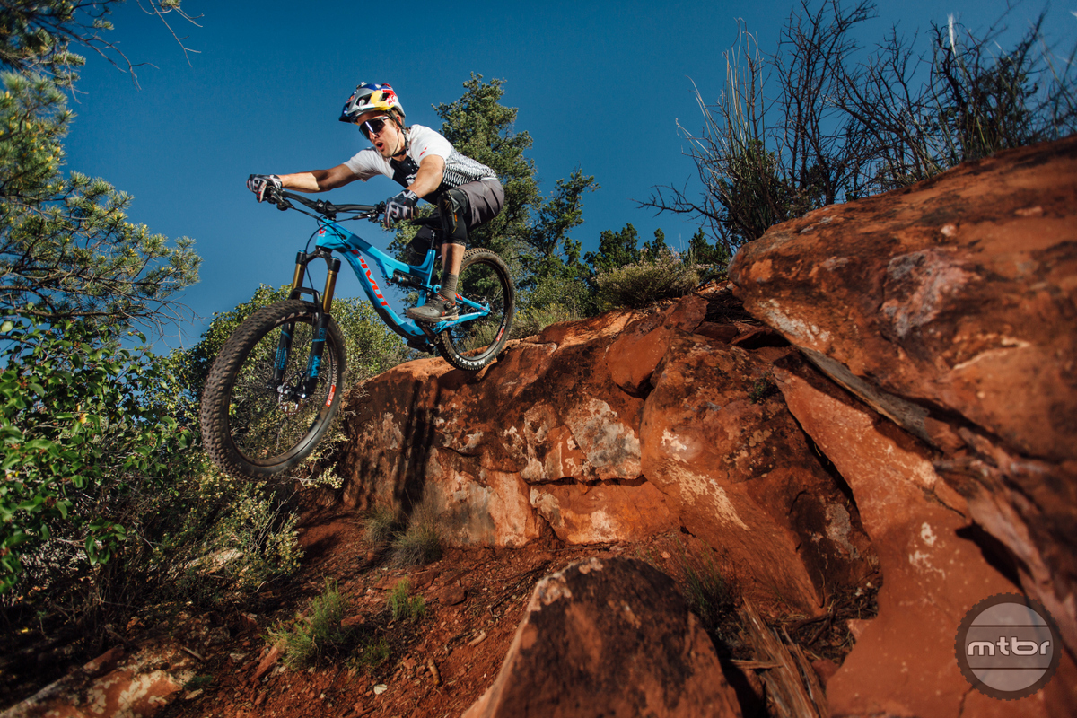 Big drops are the Switchblade's domain  with its Fox 36 150mm fork and capable rear despite only 135mm of travel.