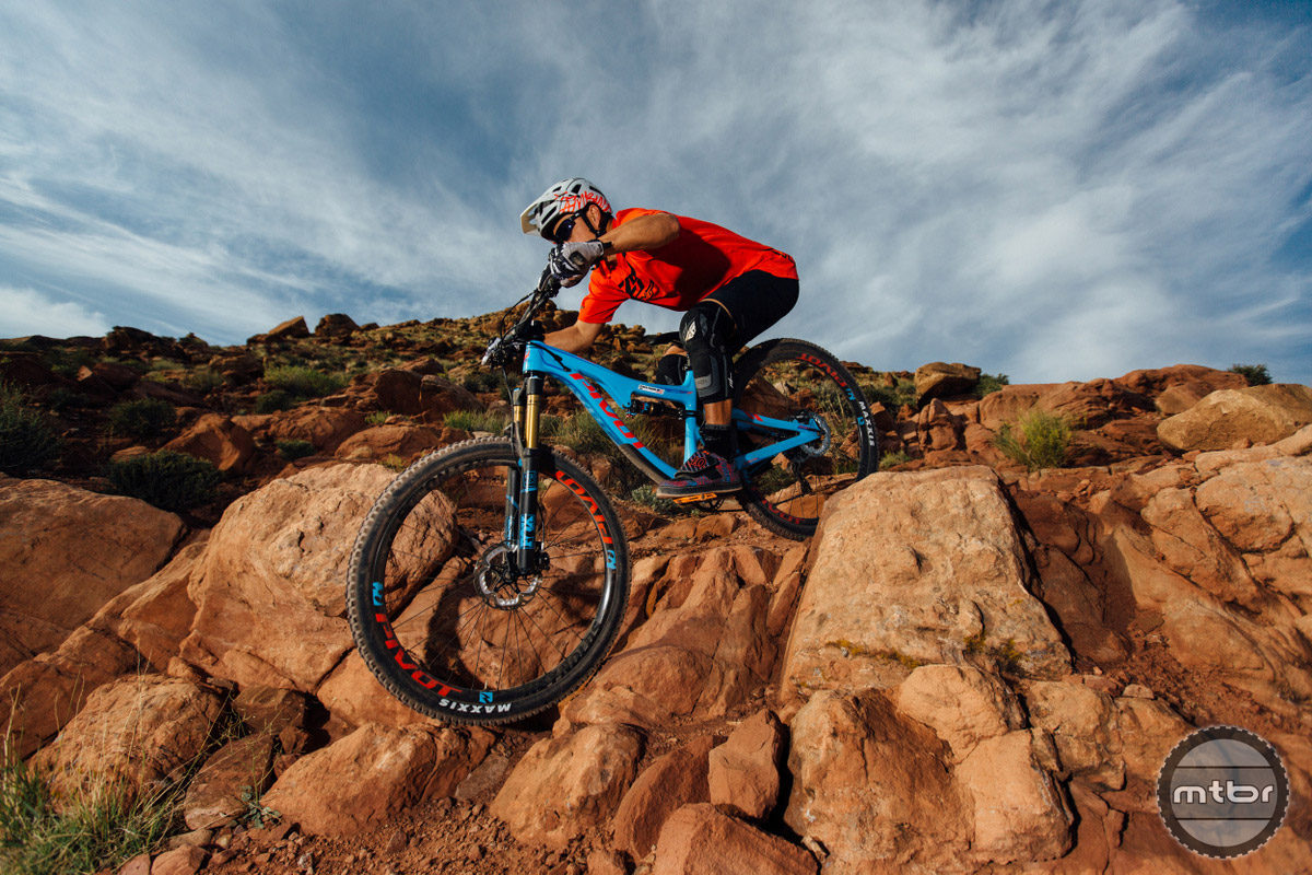 Dropping in a rock slot with the Pivot Switchblade. Photo by Lear Miller