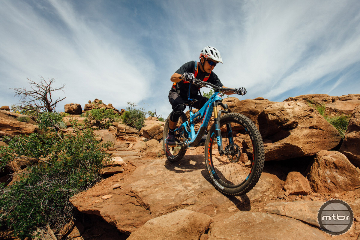 Tackling rocks at Moab's Mag 7 trail. Photo by Lear Miller