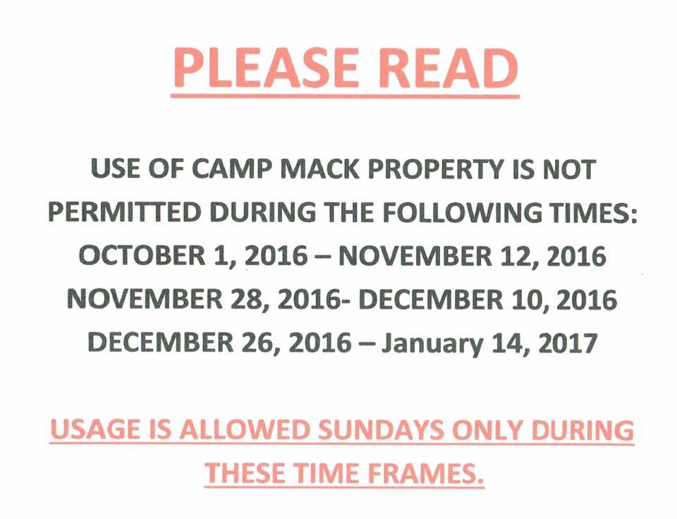 Camp Mack, Brickerville, PA - closed to public during hunting season-mack-closure-dates.jpg