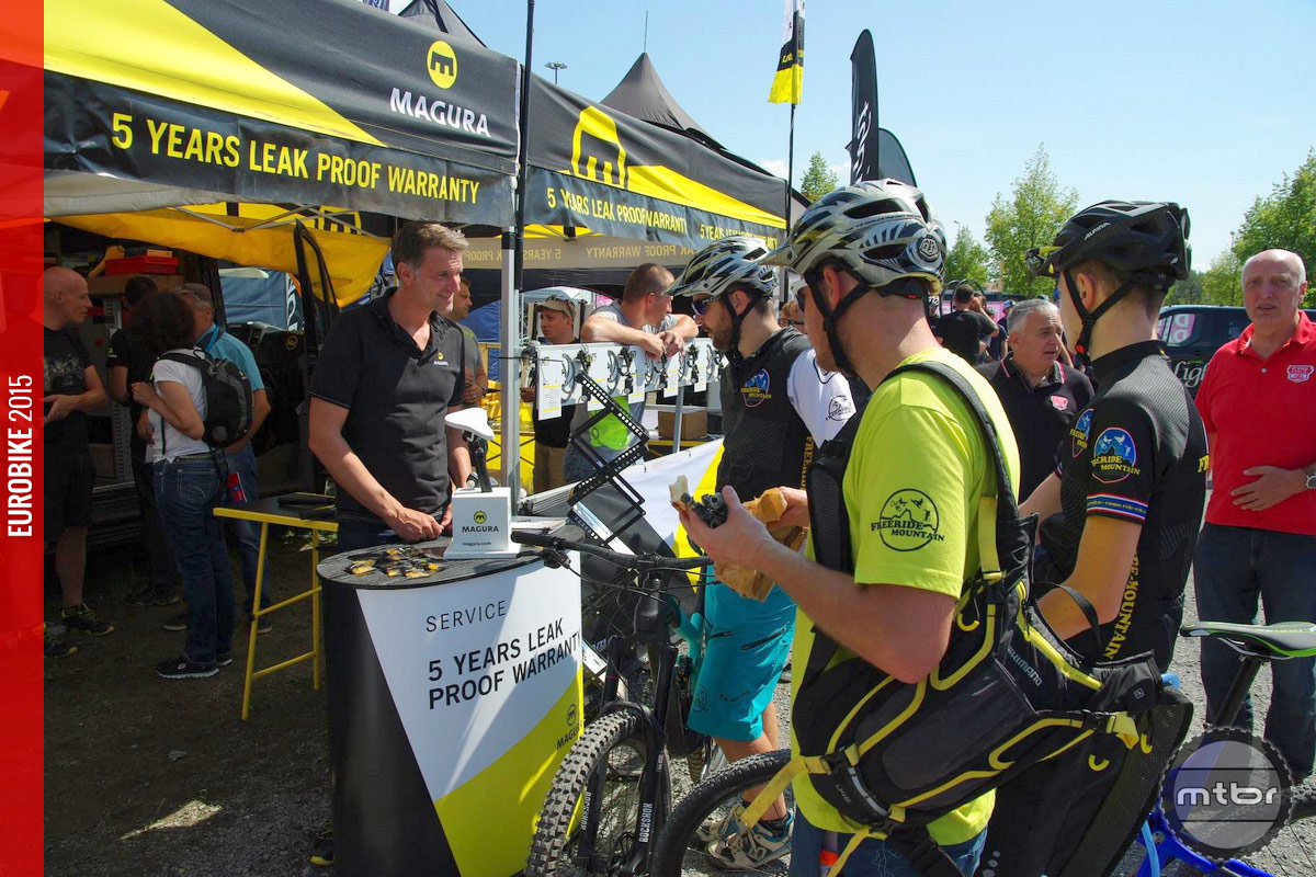 Crowds gathered by the Magura Eurobike booth.