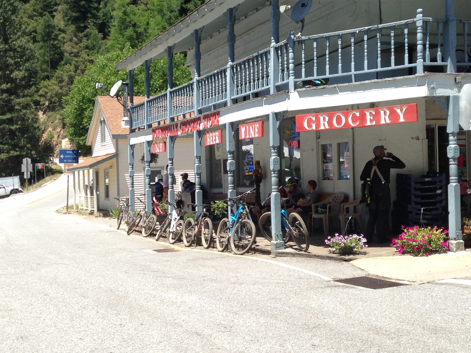 Hanging out in front of the Downieville Market after another downhill run.