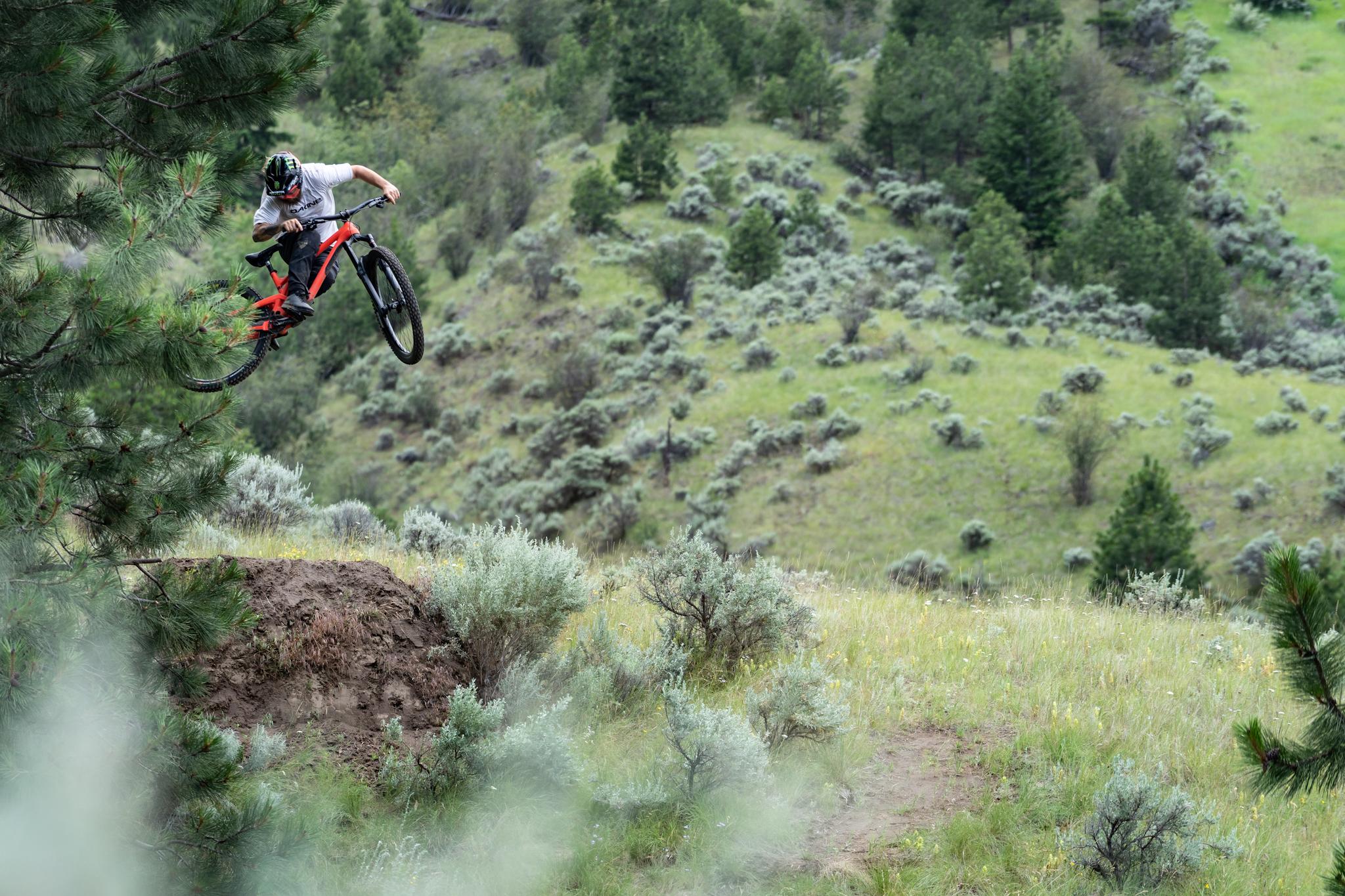 Graham Agassiz putting the new Wreckoning through its paces. Photo by Mason Mashon/Evil Bikes