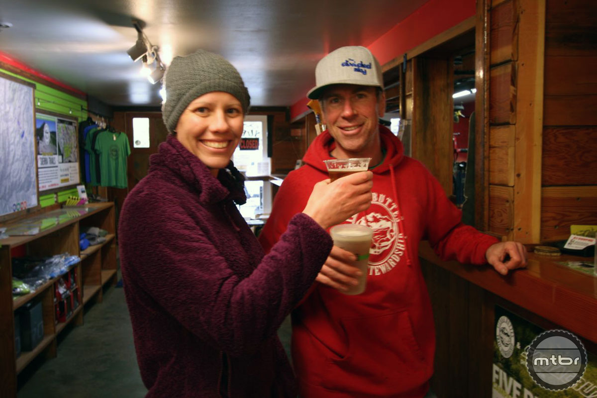 Back at Yuba, Matt and Kristin Wetter enjoy some well-deserved pints from The Brewing Lair.