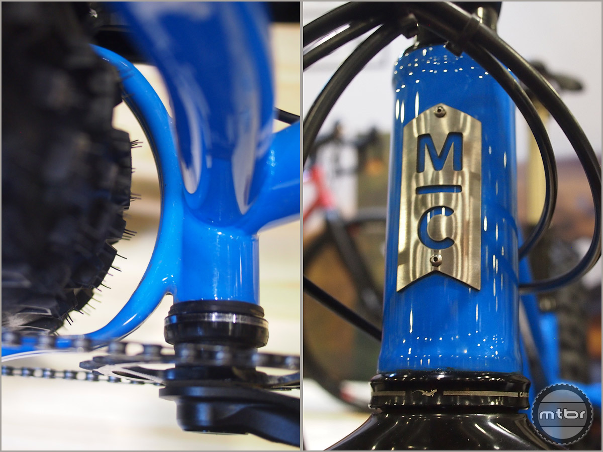 A close-up of the Benefat CNC'd yoke with tire clearance and machined head badge.