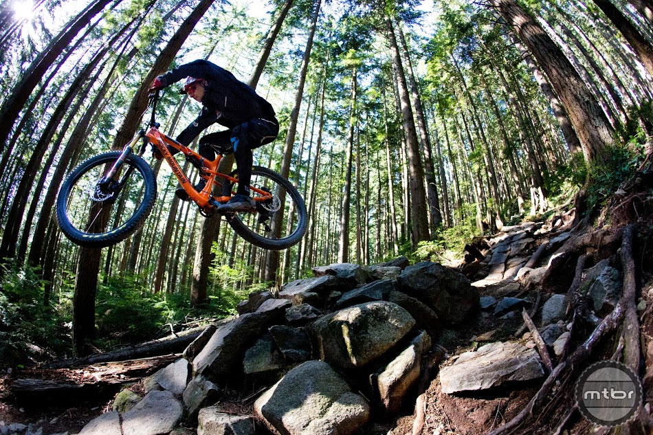 Plus sized tires like the Maxxis Recon and Ikon may not look mean, but they offer more traction than you'd expect. Swapping in something like the new plus sized Minion or High Roller elevates traction to insane levels.