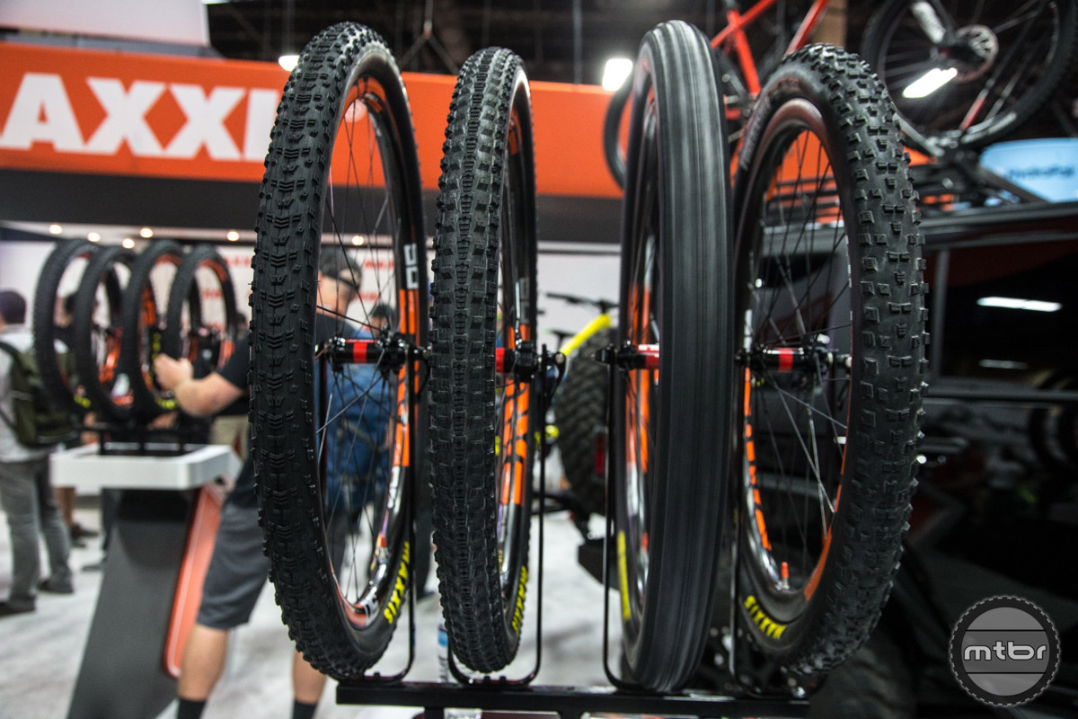 Maxxis mountain bike tires on display.